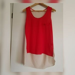 In Style Tops - IN STYLE Red Creme High Low Sleeveless Top Blouse